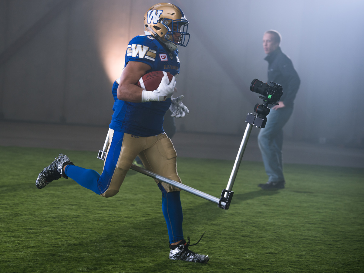 Andrew Harris (33) of the Winnipeg Blue Bombers during the CFL / TSN shoot in Mississauga, ON. Tuesday, April 19, 2016. (Photo: Johany Jutras)